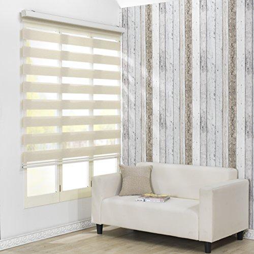 Custom Cut to Size , [Winsharp Combi Darin , Ivory , W 35 x H 47 (Inch)] Roller Zebra Fabric Shade Horizontal Window Blinds & Treatments , Maximum 91 Inch Wide by 103 Inch Long