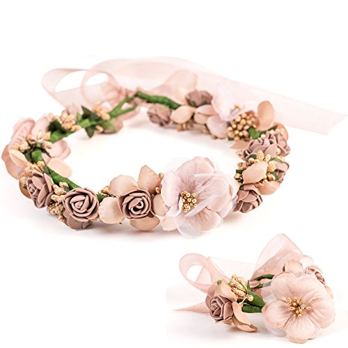 LONGBLE Bride Rose Flower Floral Garland Headband Crown Wedding Bridal Photography Travel Holiday Hair Wreath Halo with Adjustable Voile Ribbon + Bracelet For Girls Women Hair Accessories