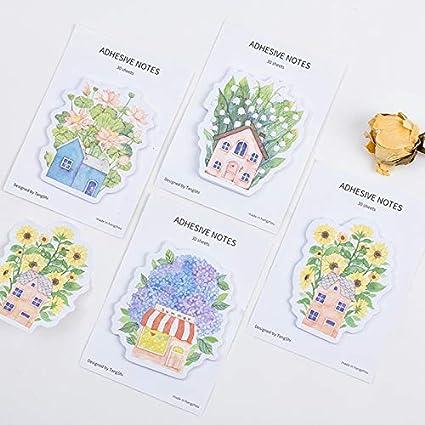 4 unids Jardín de ensueño nota adhesiva Casa de flores bloc ...