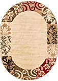 """Cheap Verdant Vines Beige Modern Damask Border Rug 5×7 ( 5'3″ x 6'10"""" Oval ) Casual Oriental Easy Clean Stain Fade Resistant Shed Free Contemporary Floral Formal Gradient Soft Living Dining Room Rug"""