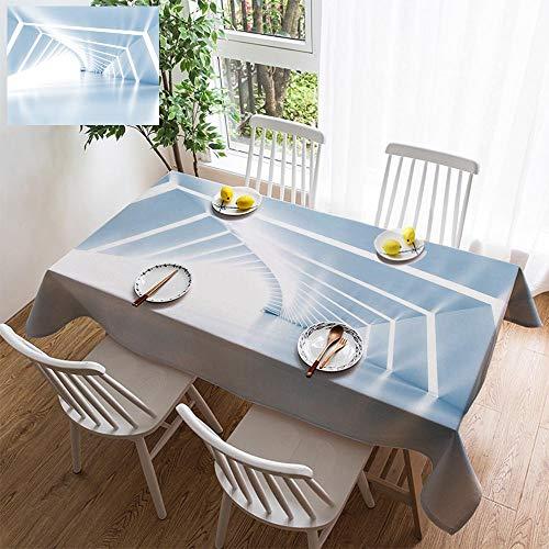 Light Sturbridge 6 (HOOMORE Simple Color Cotton Linen Tablecloth,Washable, Abstract Empty Illuminated Light Blue Shining Corridor 3D Decorating Restaurant - Kitchen School Coffee Shop Rectangular 102×60in)