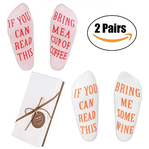 Wine Socks - Funny Wine Gifts with Gift Box''If You Can Read This'' Socks,Best Novelty Gifts for Wine Lover,Mom or Wife,Perfect Valentines Day,White Elephant,Birthday,Hostess or Housewarming Gift Idea by Nymph Code