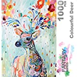 Ingooood- Jigsaw Puzzle- Fantasy Series- Flower Raindrop Colourful Deer - 1000 Pieces for Adult