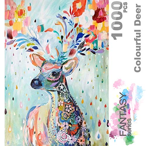 Fantasy Flowers Series - Ingooood- Jigsaw Puzzle- Fantasy Series- Flower Raindrop Colourful Deer - 1000 Pieces for Adult