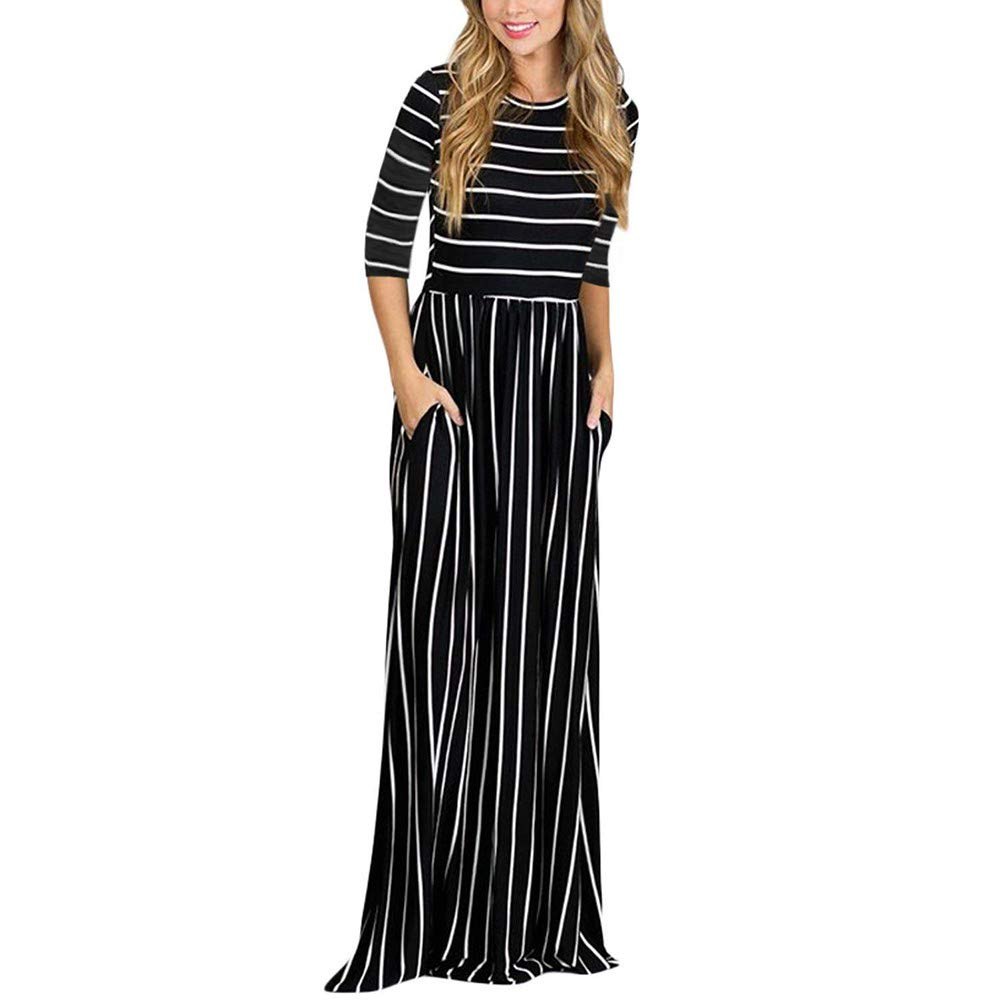 chengzhijianzhu Womens Casual Loose Striped Long Dress Three Quarter SleeveElastic Waist Pocket Elegant Maxi Sundress Black