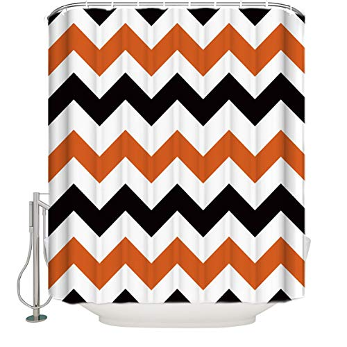Olivefox Polyester Fabric Shower Curtain Orange and Black Wave Stripe Pattern Mold Resistant Anti-Bacterial Bathroom Decor Sets with 12 Plastic Adjustable Hooks (Black Wave Pattern)