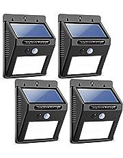 YOMYM Solar Lights Sensor de movimiento a prueba de agua inalámbrico Luz para exteriores para patio, terraza, patio, jardín con movimiento activado/apagado automático (paquete de 4)