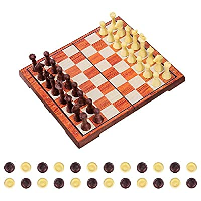 """iBaseToy Magnetic Chess Set 2 in 1 Chess Checkers Set Adults Kids Traditional Chess Game Set Folding Chess Board – 14"""" x 12"""""""