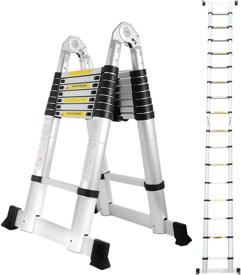 Escalera telescópica de aluminio Hengda, escalera multiusos, protección para los dedos, escalera plegable, escalera de aluminio, antideslizante: Amazon.es: Jardín