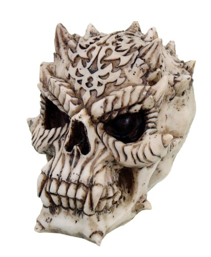 5 Inch Evil Devil Horned Skeleton Skull Resin Statue Figurine