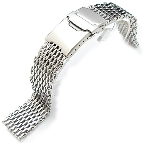 """18mm Ploprof 316 Reform Stainless Steel """"SHARK"""" Mesh Milanese Watch Band, Polished, AB"""