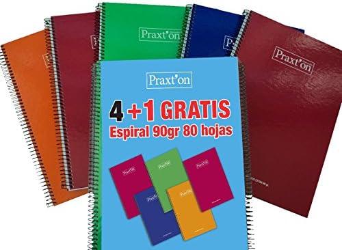 Cuadernos Espiral PRAXTON, Folio 80H Cuadros 4 mm. Tapa Dura, Pack ...
