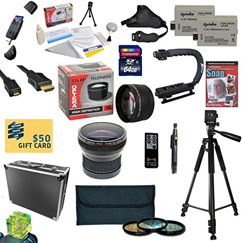 47th Street Photo All Sport Accessory Kit For the Canon 450D, 1000D, XS, XSi - Kit Includes: 64GB High Speed SDXC Card + Card Reader + 2 Extended Life Batteries + Dual Battery Charger + 58MM Opteka HD2 0.20X Wide Angle AF Fisheye Lens + 58MM 2.2x HD2 AF T by 47th Street Photo