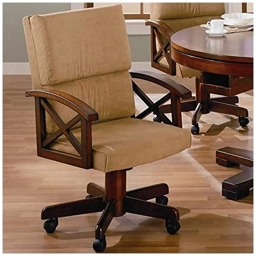 Farmhouse Accent Chairs BOWERY HILL Upholstered Game Arm Chair in Tan and Rustic Tobacco farmhouse accent chairs