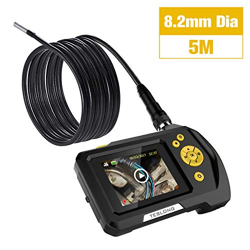 """Teslong Household Endoscope, 16.5ft Semi-Rigid Waterproof Borescope Inspection Camera with 2.7"""" LCD Screen, 6 LED Lights, 2600mAh Lithium-Ion Battery, Hard Case"""