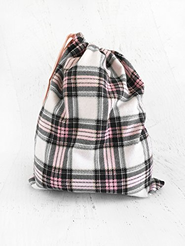 Drawstring Bag for Crochet & Knitting Projects Pink Plaid Cotton Flannel