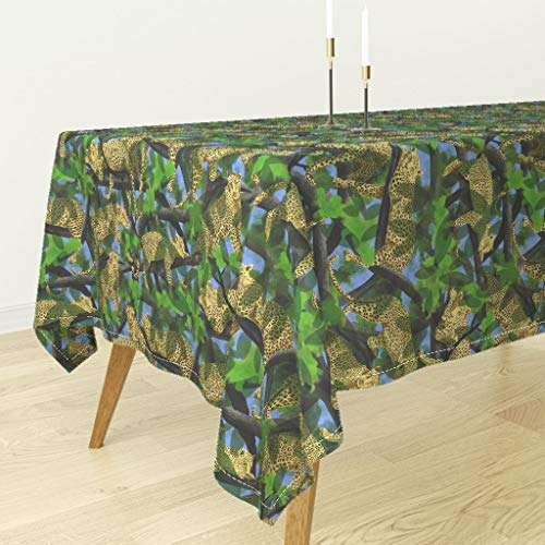 Roostery Leopard Tablecloth - Exotic Cat Feline Jungle Animals Trees Green by Vinpauld - Cotton Sateen Tablecloth 90 x 90