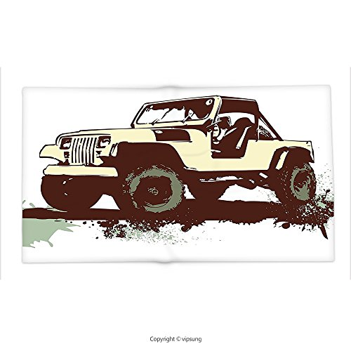 Custom printed Throw Blanket with Grunge Decor Retro Pop Art Vintage Military Car Jeep on the Road Adventure Graphic Mint Brown Cream Super soft and Cozy Fleece Blanket