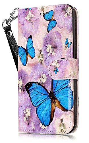 iPhone 8 Plus Wallet Case, iPhone 7 Plus Case Cover, JanCalm PU Leather Wallet Case with [Detachable Wrist Strap][Multi Card/Cash Slots] Stand Flip Magnetic Cover + Crystal Pen (Butterfly/Purple)