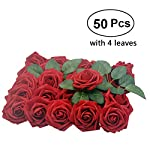 Lmeison-Artificial-Flower-Rose-50pcs-Real-Looking-Artificial-Roses-wStem-for-Bridal-Wedding-Bouquets-Centerpieces-Baby-Shower-DIY-Party-Home-Dcor-Dark-Red-with-4-Leaves