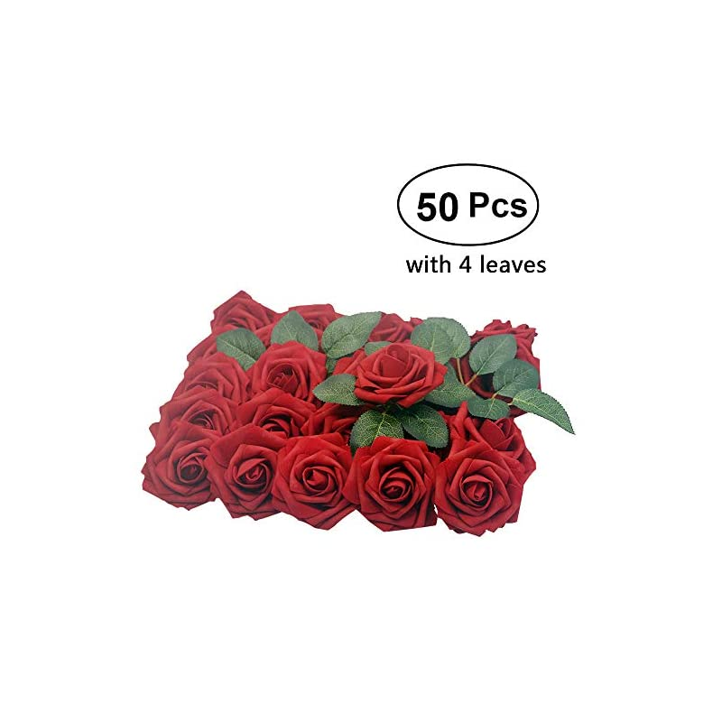 silk flower arrangements lmeison artificial flower dark red rose, 50pcs real looking fake roses w/stem with leaves for diy wedding bouquets centerpieces arrangements party baby shower cake decor home decorations