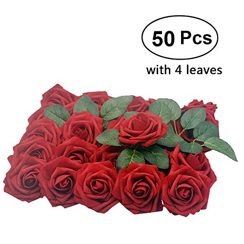 Lmeison Artificial Flower Rose, 50pcs Real Looking Artificial Roses w/Stem for Bridal Wedding Bouquets Centerpieces Baby Shower DIY Party Home Décor, Dark Red with 4 Leaves