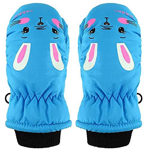 1 Paare Kinder Cartoon Handschuhe Kaninchen Fingerhandschuhe Skihandschuhe Kalte wasserdichte Handschuhe(Blau)