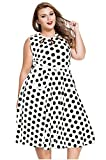 Pyramid Women's Polka Dot Ruffle Off shoulder Long Sleeves Plus Size Dress (XXL, WHITE2)