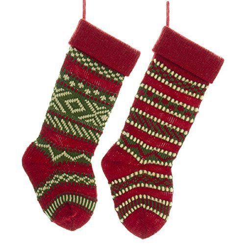 Kurt Adler B0658 Heavy Yarn Stocking, Set of 2, Red/Green ]()