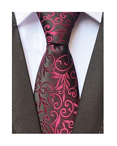 (Mens Silk Wine Red Tie Summer Cool Gentleman Party Jacquard Self Cravat Neckties)
