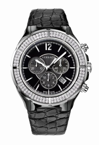 Versace Women's 28CCS91D008 S009 DV ONE Black Ceramic Case Leather Band Chronograph Diamond Watch