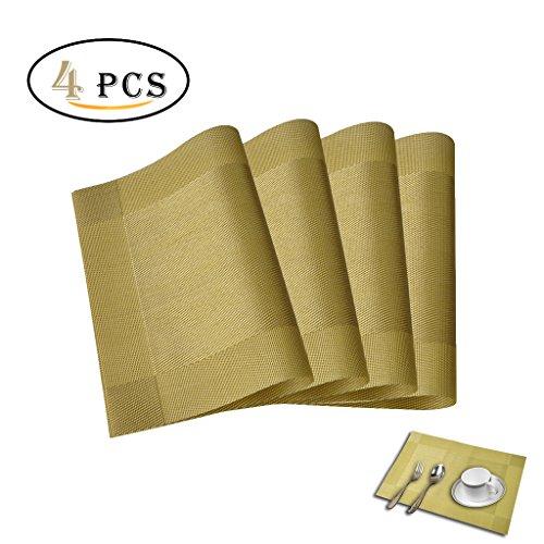 4Pcs Pvc Waterproof Table Cloth (Golden) - 1