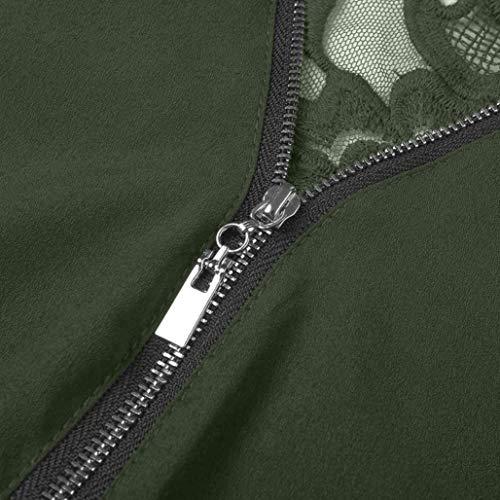 Zipper Femmes en Top Dentelle Vrac Verte Tops Casual Femmes Innerternet Neck Tee Shirt Shirt Blouse Chemisier Arme T V wBzpfqR