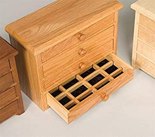 product image for DutchCrafters Amish Four Drawer Shaker Jewelry Box (Oak - OCS 101)