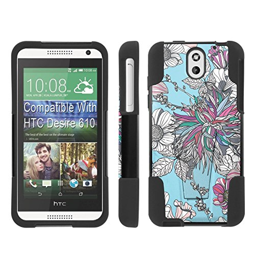 [ArmorXtreme] Case for HTC Desire 610 [Black/Black] [Hybrid Armor KickStand Dual Layer Protection Case] - [Teal Flower - Desire Teal For 610 Htc Cases