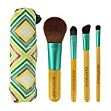 Ecotools Limited Edition Bamboo Boho Luxe Travel Make Up Brush Set, With 4 Travel Size Brushes with Globaly Inspired Cosmetic Bag; Includes Card, Bow, and Box, Great Gift Edition