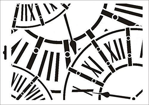 UMR-Design W-444 Clocks Textil- / wallstencil Size A4