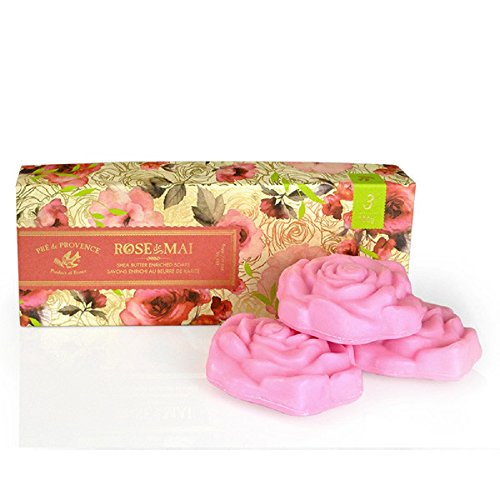 (Pre de Provence French Soap Bar In Gift Box, Enriched with Shea Butter to Moisturize and Soothe, Infused With Real Petals (Includes Three, 100 Gram Rose Shaped Soaps) - Rose De Mai)