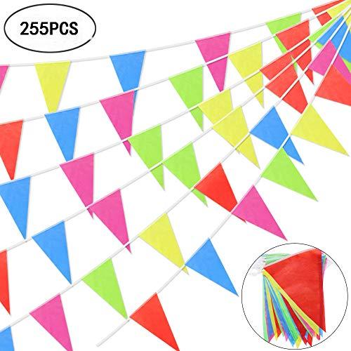 Pennant Banner EMDMAK 255pcs Multicolor Flag Banner Nylon Fa