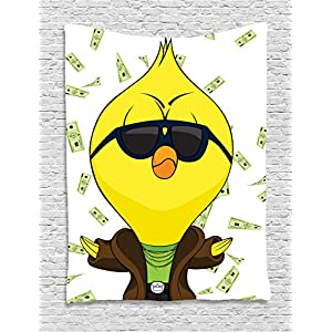 Lunarable Chicken Tapestry by, Cartoon Chick with Trench Coat Chains Sunglasses on Hundred Dollar Bills Backdrop, Wall Hanging for Bedroom Living Room Dorm, 40 W X 60 L Inches, Multicolor