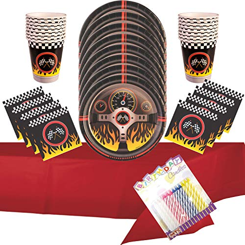 Race Car Racing Party Supplies Pack Serves 16: Dinner Plates Luncheon Napkins Cups and Table Cover with Birthday Candles - (Bundle for 16) ()
