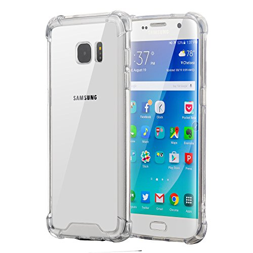 ELZO Case Compitable for Samsung Galaxy S7 Edge, [Crystal] Clear Shock Absorption Bumper Cover/Sleeve/Shell - Transparent Protective Hard Plastic Back with Soft TPU Edge (Air Cushion)