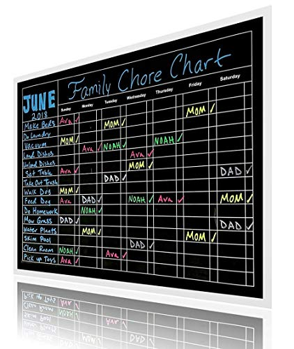 Premium X-Large 15'' X 20'' Multiple Use Responsibility Magnetic Chalkboard Chore Chart – Daily, Weekly and Monthly Scheduling Activity, Reward, Fitness, Meal Prep for Pets, Kids, Teens, and Adults by We R Planners