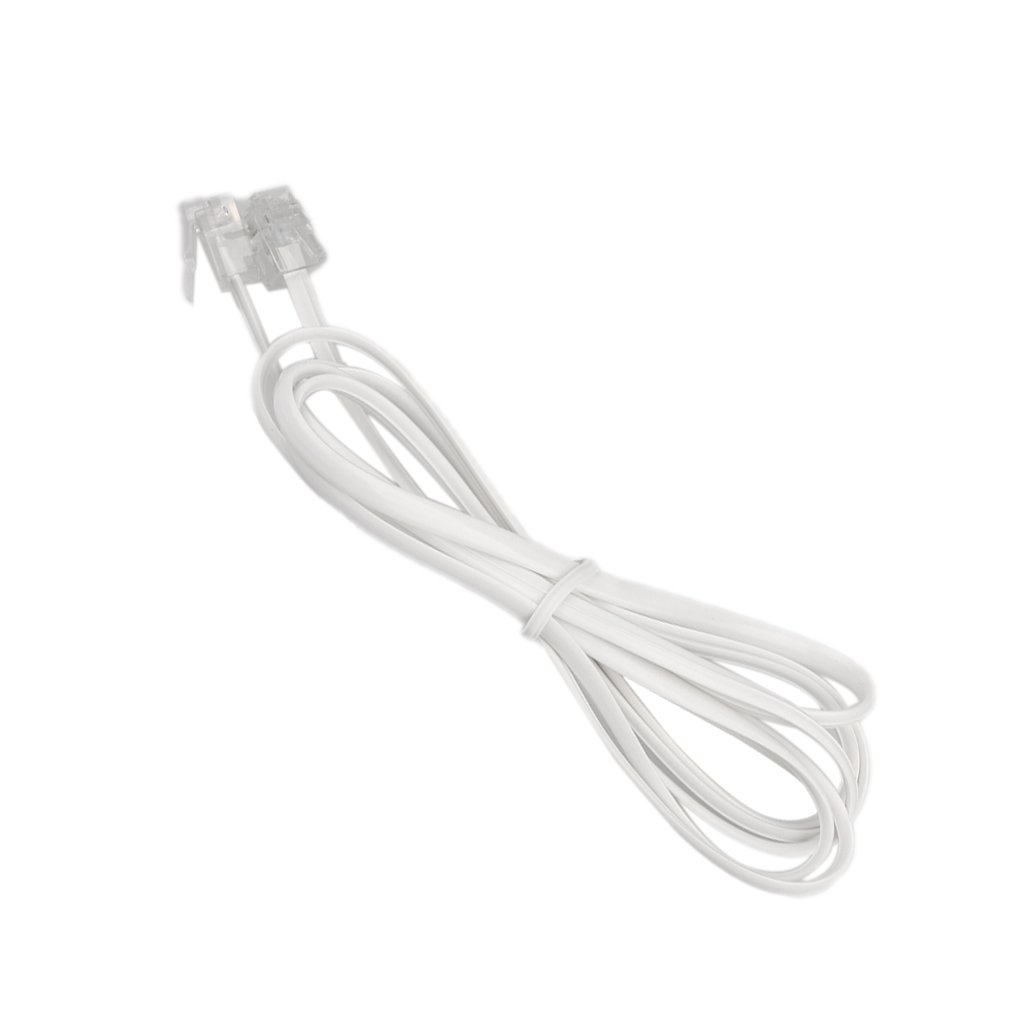 Dovewill White Telephone Extension Cable Wire Extension Cord Phone Cable Line 6P2C, Assorted Sizes - 3m, White