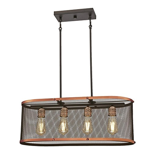 (Westinghouse Lighting 6332800 Emmett Four-Light Indoor Chandelier, Oil Rubbed Bronze Finish with Washed Copper Accents and Mesh Shade)