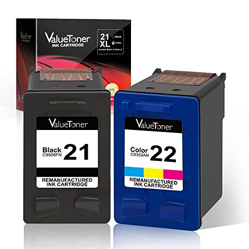 Valuetoner Remanufactured Ink Cartridge Replacement 2 Pack for HP 21 C9351AN & HP 22 C9352AN (1 Black + 1 Tri-Color) for HP DESKJET F4180,F2210,D1560,3930,OFFICE 4315,J3640,FAX 3180,PSC 1401 (3180 Fax)