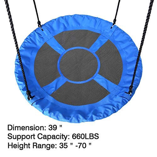 Saucer Tree Swing, 39'' Children Steel Frame Waterproof Adjustable Rope Easy Installation Saucer Swing for Kids, Outdoor for Fun, Blue by BOCCA (Image #2)