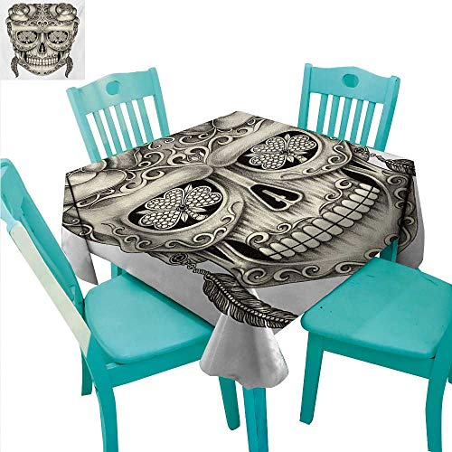 (WilliamsDecor Day of The Dead Washable Table Cloth Spanish Sugar Skull with Roses Dragonfly Eyes Feather and Earrings Artwork Great for Buffet Table 60