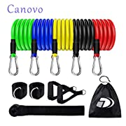 #LightningDeal Exercise Resistance Bands Set (11pcs) Stackable Up to 100Lbs, Exercise Bands with Door Anchor, Ankle Straps & Carrying Case, Great for Home Workouts, Physical Therapy, Gym Training, Yoga