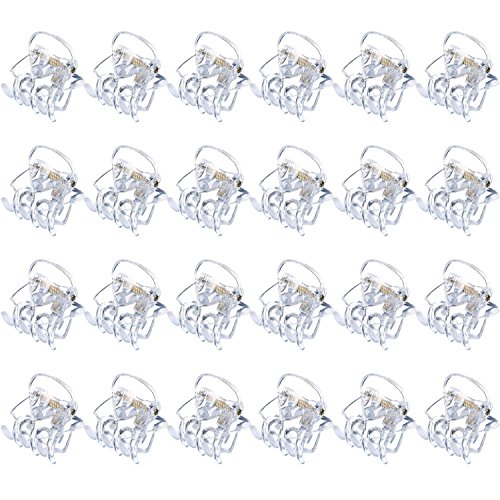 Hotop 24 Pieces Mini Hair Clips Plastic Hair Claws Pins Clamps for Girls and Women (Clear)